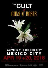 """Cult / Guns N' Roses """"Alive In The Hidden City"""" 2016 Mexico Concert Tour Poster"""