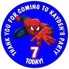 SPIDERMAN, PERSONALISED GLOSSY,  KID'S PARTY STICKERS, SEALS LABELS