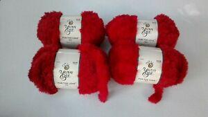 4 Skeins Red Yarn Bee Fur The Love Yarn   All the Same Dye Lot #