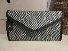 PRIMARK BLACK & WHITE MEDIUM RAFIA CLUTCH BAG (BNWT) – PLEASE SEE PHOTOS
