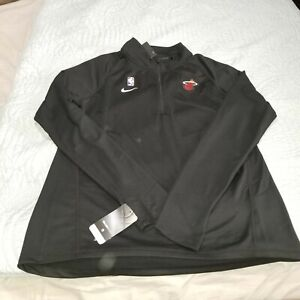Nike NBA Miami Heat Women's 1/4 Zip Warm Up Shooting Sweatshirt AV1922-010 Sz L