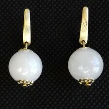 SMALL WHITE QUARTZ EARRINGS, SMOOTH STONE GLOBE BALL QUALITY GOLD PLATED FITTING