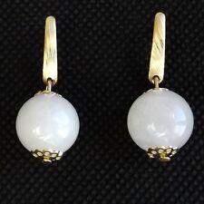 Orecchini quarzo bianco piccolo, Liscio Pietra GLOBO PALLA Raccordo Di Qualità Placcato Oro