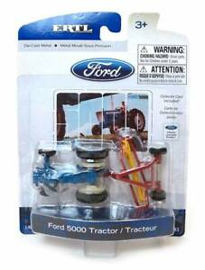FORD 5000 SERIES WIDE FRONT TRACTOR WITH HAY RAKE DIECAST SCALE 1/64 ERTL
