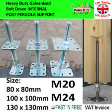 More details for heavy duty galvanised bolt down internal pergola support adjustable height:250mm