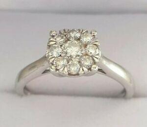 Gorgeous 9ct White Gold 0.50ct Diamond Cluster Ring 1/2ct Hmkd 2.6g Size N +Cert