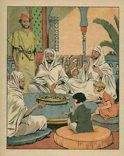 Gravure ancienne couleur illustration de R Giffey enfant Luce et Colas 1934