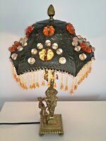 RARE antique 1900 bronze Art Nouveau lamp french cabochon mythology scene