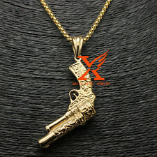 "Stainless Steel Gold Plated Gun Biker Pattern Pendant Necklace 3MM 24"" Box Chain"