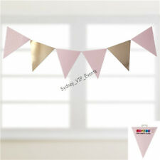 Pink Gold Foil Dotty Party Flag 30pk Baby Shower Birthday Hanging Bunting Banner