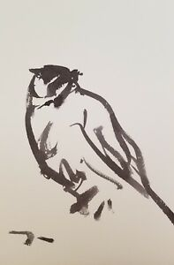 JOSE TRUJILLO MODERN ABSTRACT EXPRESSIONIST INK WASH ART ORIGINALS BIRD BLACK