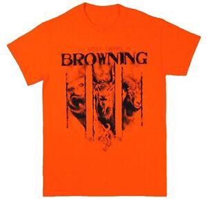 Men's Browning Nightsight Tee Safety Orange Hunting Short Sleeve T-Shirt S-2XL