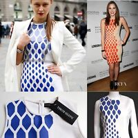 New Designer David Koma White Blue Print Stretch Mini Dress uk 12-10