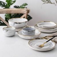 Glozzy Glaze Ceramic Bowls Gold Inlay Marble Patterns High Quality Tableware Set