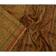 Tcw  Vintage Saffron Sarees 100% Pure Silk Printed Sari Craft 5 Yard Fabric