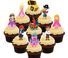 Pirates & Princess Edible Cupcake Toppers 36 Standup Fairy Cake Decorations Kids