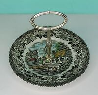 "Vintage British Anchor Ironstone Cake, 7"" small serving dish Merrie Old England"