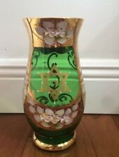 New Vase Murano Italy Hand Blown & Painted 24K Gold Artist Signed NEW $ 250