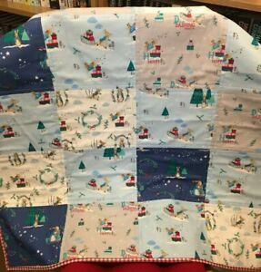 Beatrix Potter Peter Rabbit Patchwork Handmade Baby/Cot Quilt in Blue/Grey/Red