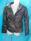 URBAN OASIS LADIES BLACK PATCH LEATHER FITTED JACKET-SZ M 10-12 VGC