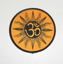 """Zen OM Sun Embroidered iron-on Patch 3 1/2"""" blk/yellow"""