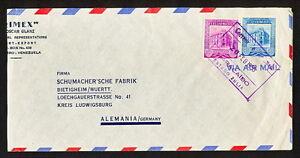 VENEZUELA 0439 AIR MAIL COVER 1955 certificado Maracaibo to Germany Bietigheim w