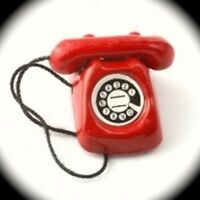 Dolls house Miniature Rotary Telephone in Red Accessory 1/12 Scale Phone