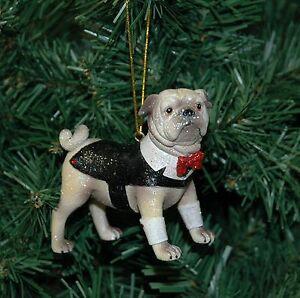Spencer The Pug Dog Christmas Ornament