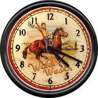 Retro Vintage Western 50's Horse Wild West Cowboy Boy's Rodeo Sign Wall Clock