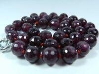 "10mm Faceted Garnet Red Gemstone Round Beads Necklace 18"""
