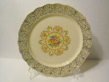 W.S.GEORGE  BREAD BUTTER PIE PLATE  CANARYTONE LIDO GOLD FILIGREE  FLORAL