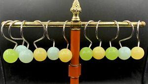 Vintage Acrylic Orb Shower Curtain Rings/Hooks 11 Balls MCM Retro Chic