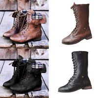 Women's Mid Calf Zipper Low Heel Combat Military Boots Lace Up Shoes Size 5-9.5