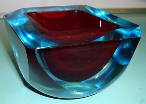 Very Heavy Antique facet crystal uranium Glass Murano seguso cenedese  bowl dish