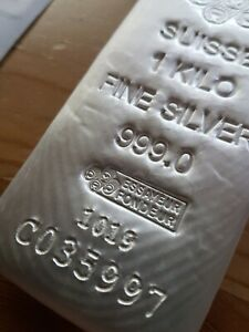 Pamp Suisse Silver 1kg 999 poured Bar with COA (coin/ingot) - very rare.