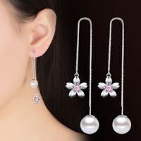 Cherry Blossoms Pearl Ear Line 925 Sterling Silver Earrings For Women Party Gift