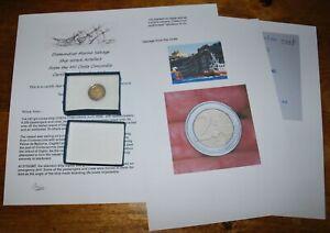 Rare shipwreck COIN from MV Costa Concordia in a presentation box & signed COA
