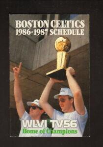Boston Celtics--Larry BIrd--Rick Carlisle--1986-87 Schedule--WLVI/Miller Lite