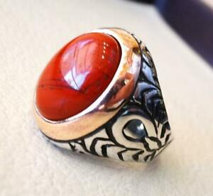 Turkish Red Coral 925 Sterling Silver Men's Ring, Heavy Signet Jewelry P1563