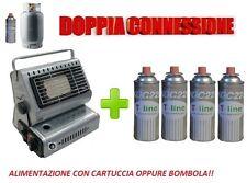 STUFA STUFETTA PORTATILE A GAS DOPPIA CONNESSIONE CON INCLUSE 4 CARTUCCE A GAS