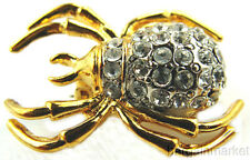 Spider Insect Brooch Pin Gold Ep Pave Crystal