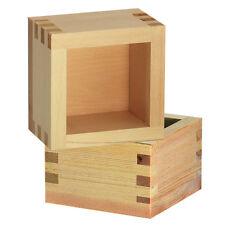 """Set of 2  Sake Cup Wood Masu Handmade 3.25"""" Square x 2-1/8""""H/ Made in Japan"""
