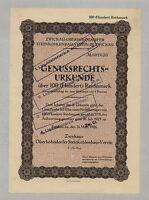 Zwickau-Oberhohndorfer Steinkohlenbau-Verein – Genuß-Schein, 100 RM, 31.3.1926