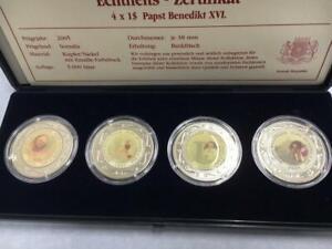 1 Dollar Somalia 4 Münzen Papst Benedikt XVI mit Emaille-Farbdruck 2005 CN