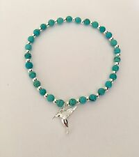 Ladies Turquoise & Sterling Silver Beaded Bracelet With Love Bird Charm