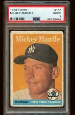 "1958 Mickey Mantle Topps #150 PSA 2  ""The Mick"" New York Yankees baseball Card"