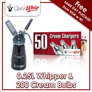 200 QuickWhip Cream Chargers & QuickWhip 0.25L Dispenser - Black -  N2O