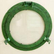 """Antique Green Porthole Window 20"""" Nautical Maritime Porthole Glass Window Decor"""