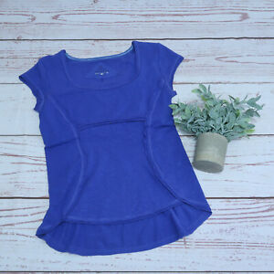 prAna Womens Small Calypsa Purple/Blue Short Sleeve Organic Cotton Hemp Shirt