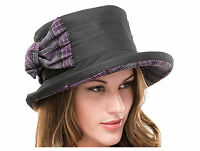 Ladies Waxed Cotton Waterproof Winter Wax Cloche Hat With Tweed Bow and Brim
